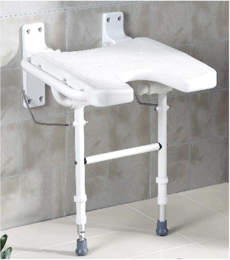 Asiento abatible en u con patas plegable para ducha asister for Asiento plegable ducha