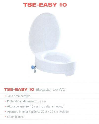 Alzador para inodoro TSE-EASY 10 WC Con Tapa De B+B Iberia. Soporta hasta 200 kg. de peso. Garantiza discrección e higiene.