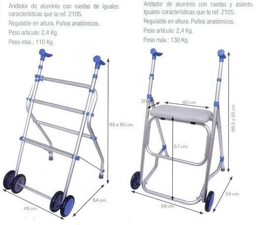Andador De Aluminio Con Ruedas Movilidad