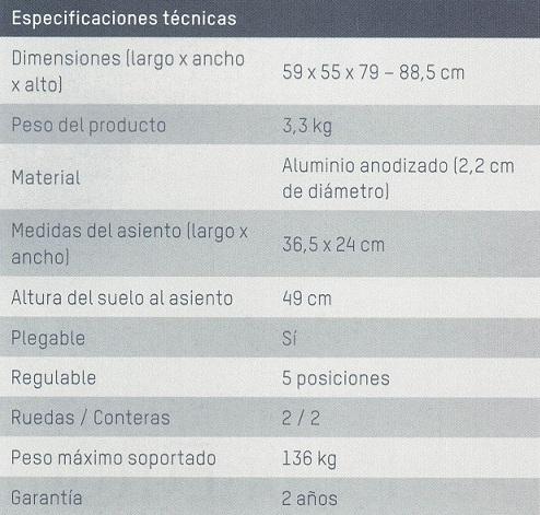 Tabla de información caminador apex medical