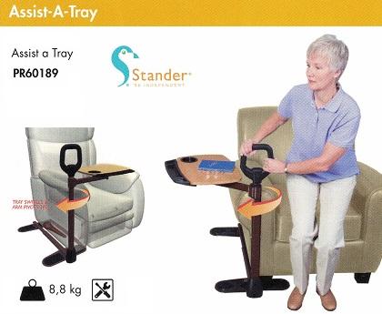 Con Mesita. Assist-A-Tray De STANDER. Práctica para sentarse