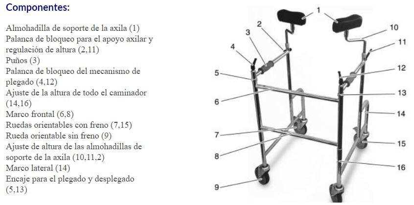 Caminador-MAXI Axilar Plegable