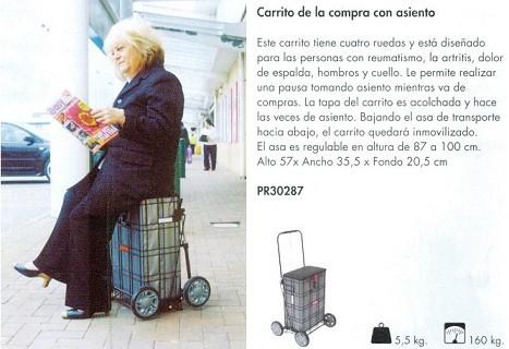 Carrito De La Compra con Asiento. Diseñado para las personas con reumatismo, la artritis.