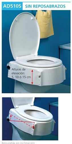 Elevadores de wc regulables en altura e inclinaci n asister for Elevador taza wc