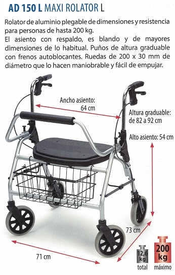 Maxi Rollator L Hasta 200 kg. Bariátrico