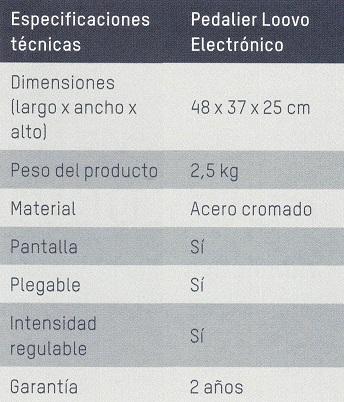 Datos técnicos bicicleta de erjercicio