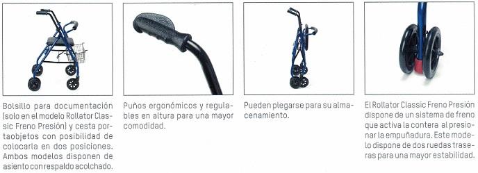Rollator Aluminio De Freno Por Presión Plegable.