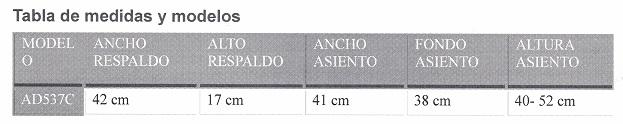 tabla de medidas taburete baño