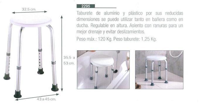 Taburete ba o ducha de aluminio reducidas dimensiones Dimensiones de una banera