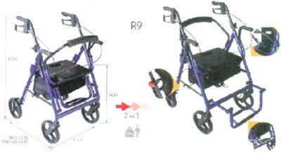 Rollator con asiento para movilidad. Maniobrabilidad en domicilios.
