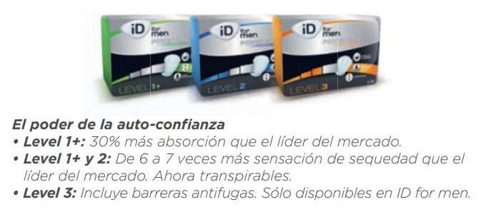 Absorbentes iD For Men. Levels 1+, 2, 3