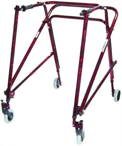 Andador Posterior ADULTO NIMBO. Color: rojo flame. Producto de apoyo de utilidad, calidad y precio.