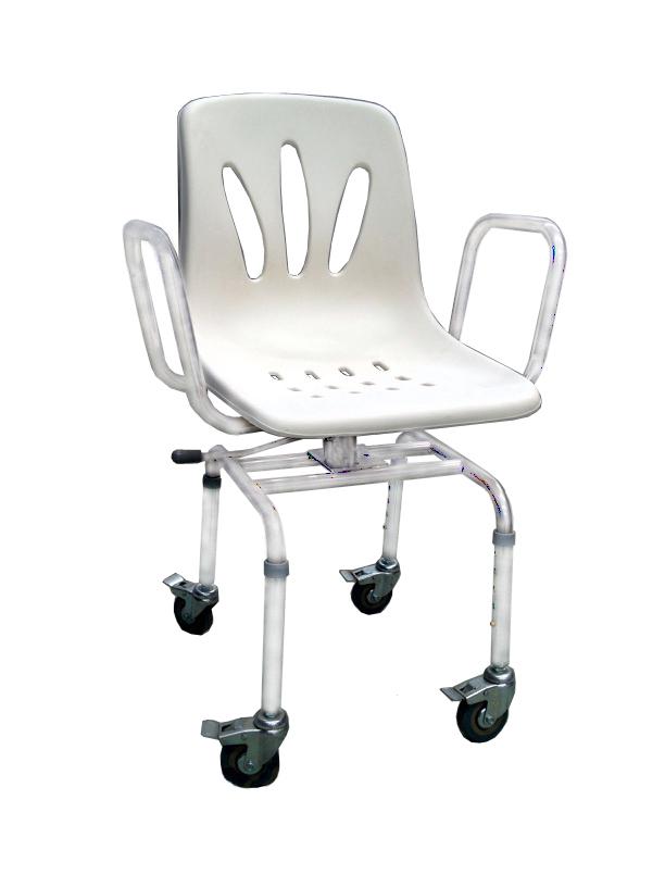 Silla de ducha con asiento giratorio y ruedas asister for Sillas para ducha plegables