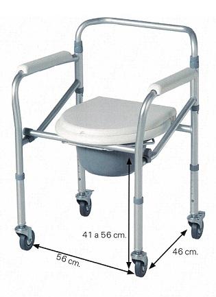 Silla Con Inodoro De Aluminio Plegable Y Con Ruedas. Puede utilizarse como elevador de WC.