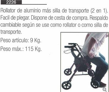 Rollator Silla Transporte 2 en 1, un producto de ayudas técnicas, movilidad, de estructura aluminio.