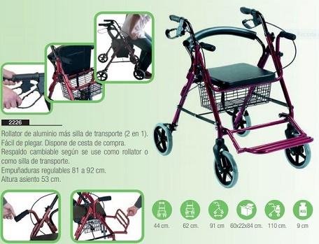 Rollator Silla Transporte 2 en 1