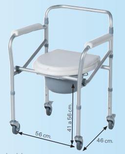 Silla Con Inodoro De Aluminio Plegable Y Con Ruedas