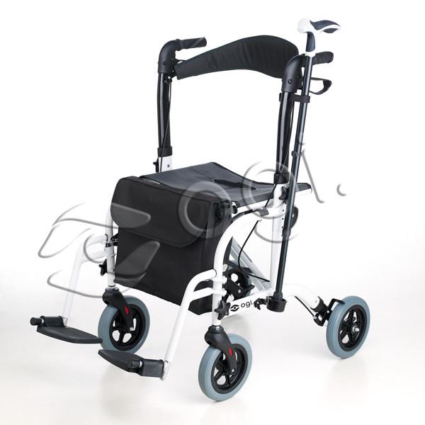 Rollator Aluminio Convertible En Silla OGI-PASEO. Enorme e inteligente diseño.