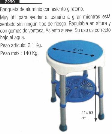 banqueta de aluminio de ducha con asiento giratorio
