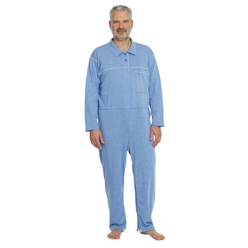 pijama azul con cuello polo