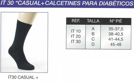 Calcetín Para Diabéticos CASUAL+. Modelo: grueso largo. Sin constricciones.