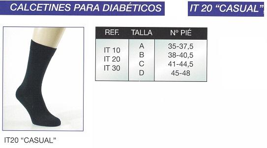 Calcetín Para Diabéticos CASUAL. Modelo: fino largo. Óptima transpiración.