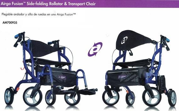Rollator Silla Transporte 2 en 1 AIRGO FUSION. Diseño avanzado único.