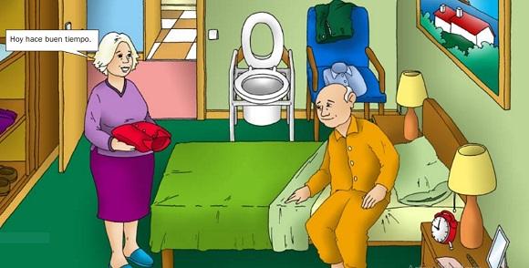 dibujo personas mayores en residencia