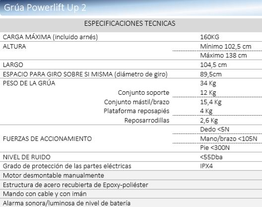 especificaciones técnicas powerlift up II