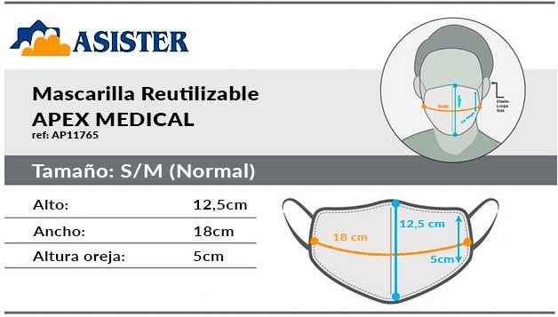 medidas mascarillas reutilizables apex tamaño normal