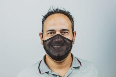 mascarilla apex transparente negra