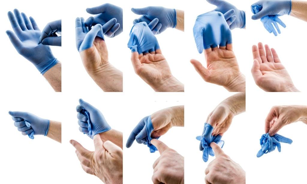 quitarse correctamente los guantes higienicos desechables