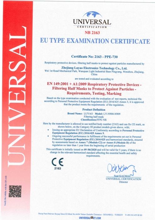 certificado mascarillas ffp2